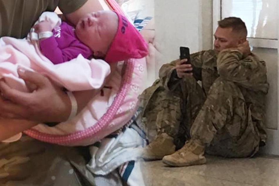 Mit Tränen in den Augen: Soldat muss Geburt seiner Tochter über FaceTime miterleben