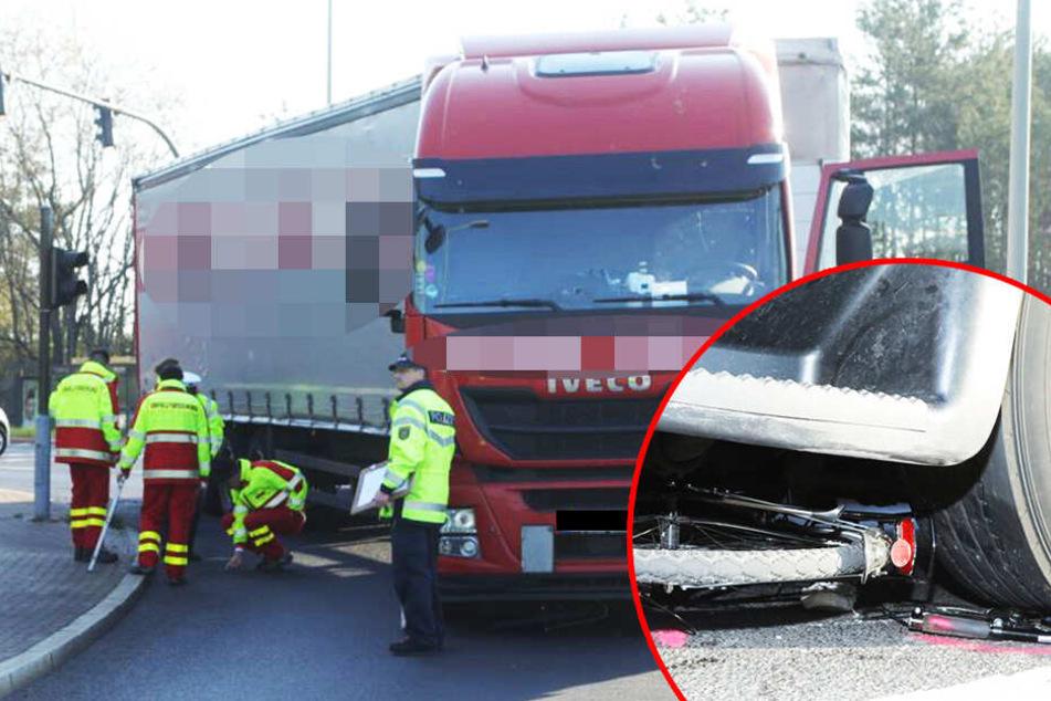 Schlimmer Crash in Dresden: Radfahrer von Laster erfasst