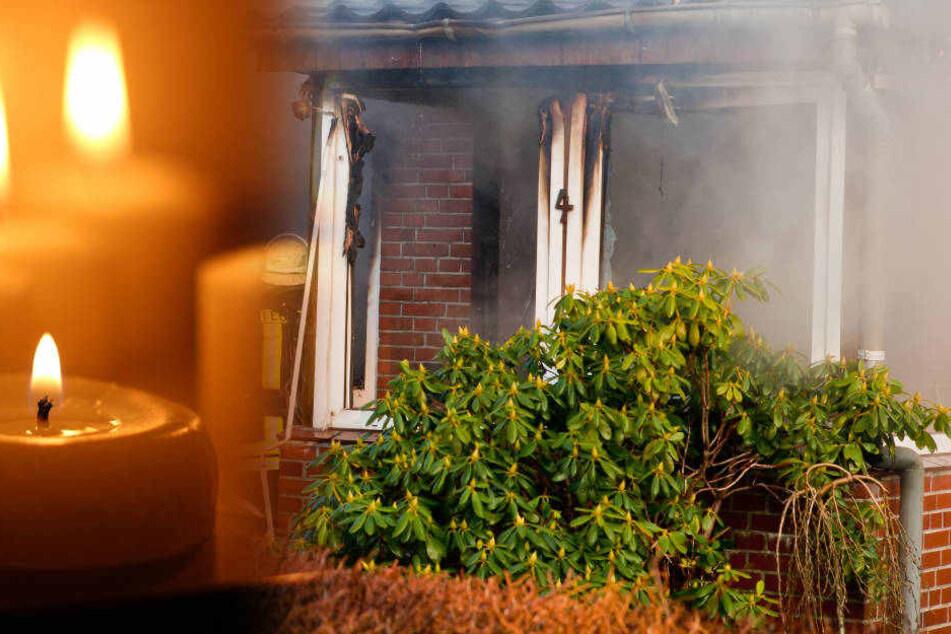 Eine brennende Kerze, die zu Boden gefallen war, löste den Hausbrand aus.
