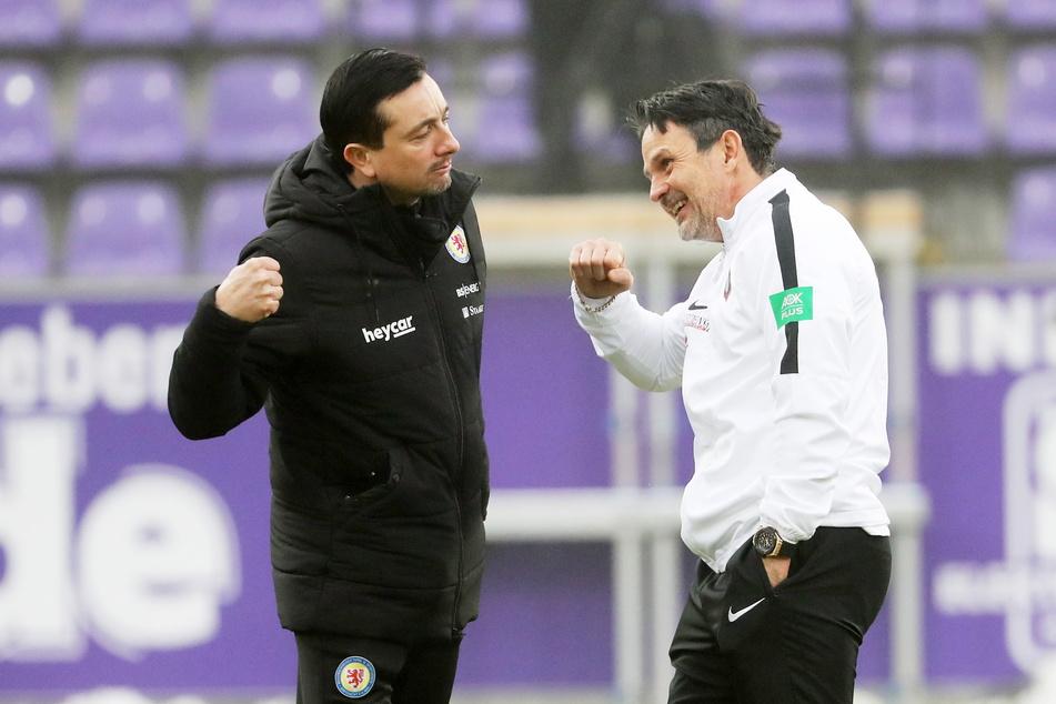 Ex-FCE-Coach Daniel Meyer (41, l.) empfängt am Freitag den aktuellen Aue-Coach Dirk Schuster (53).