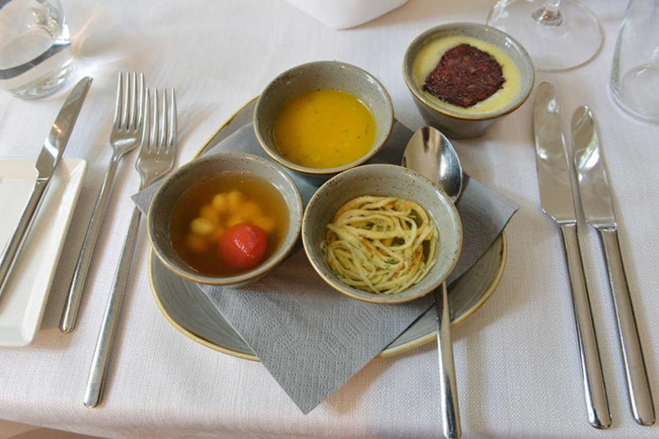 Ob Mangosüppchen, Tomatenessenz oder Kartoffelsamtsuppe mit Blutwurst -  Maiwert lässt seine Gäste genießen.