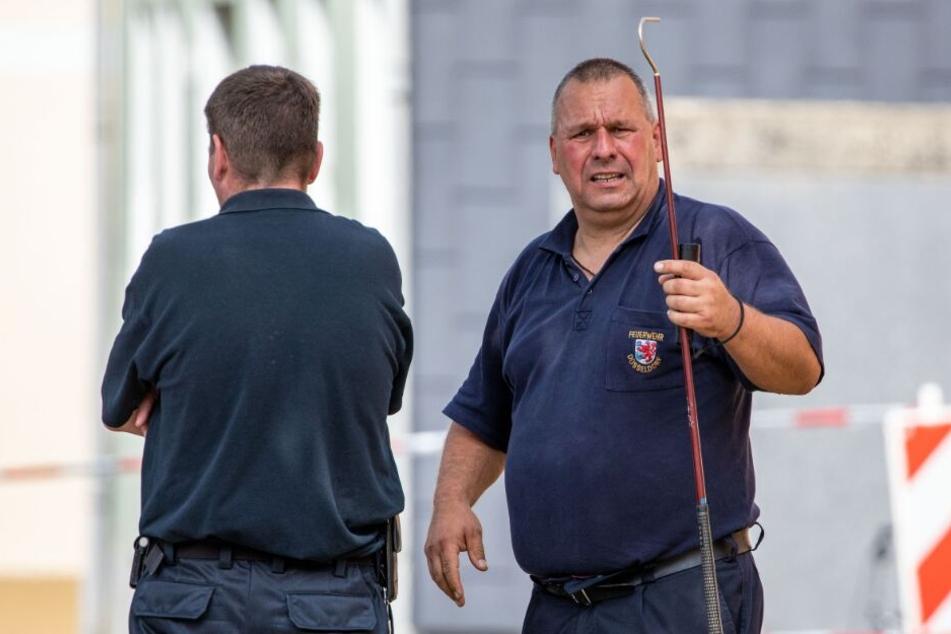 Reptilienspezialisten der Feuerwehr Düsseldorf machten sich auf der Suche nach der Schlange.