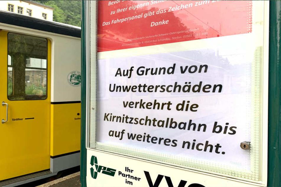 Die beliebte Kirnitzschtalbahn pausiert.