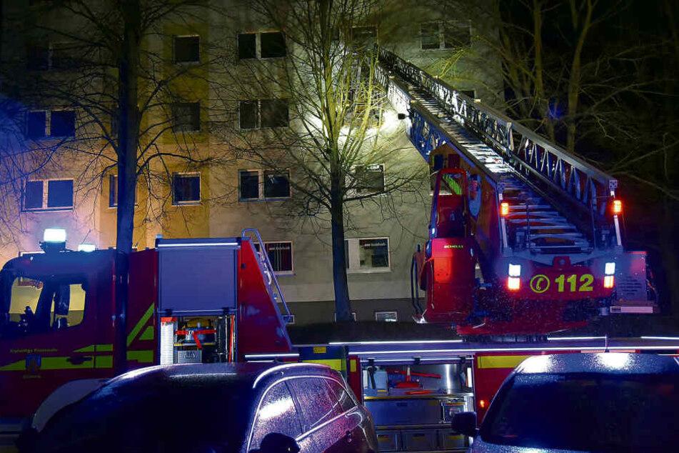 Mit der Drehleiter bahnten sich Feuerwehrleute den Weg bis zum Fenster der Brandwohnung und löschten von außen die Flammen.