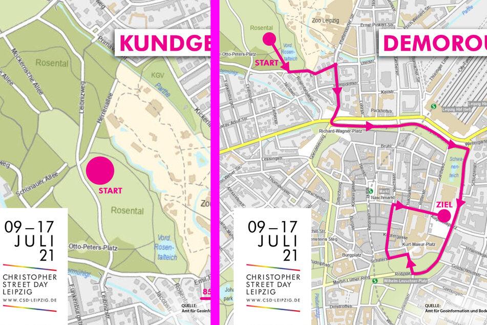 Links die Location für die Auftakt-Kundgebung im Rosental um 13 Uhr, rechts die Demo-Route von 15 bis 17 Uhr.