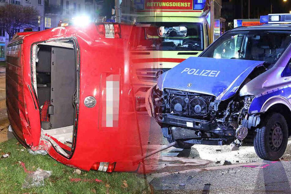 VW kracht in Polizeiauto und gegen Ampel: Fahrer verletzt