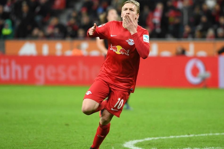 Emil Forsberg beim Jubel zum 2:2 gegen Leverkusen am 18. November.