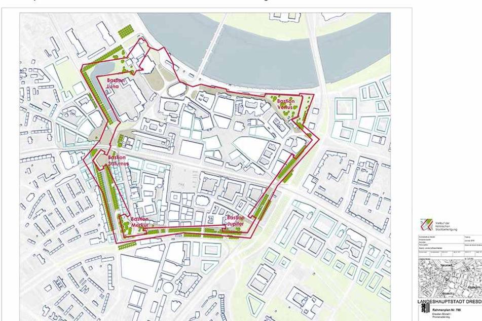 Entlang der rot unterlegten Bereiche soll der Promenadenring die Altstadt umschließen.