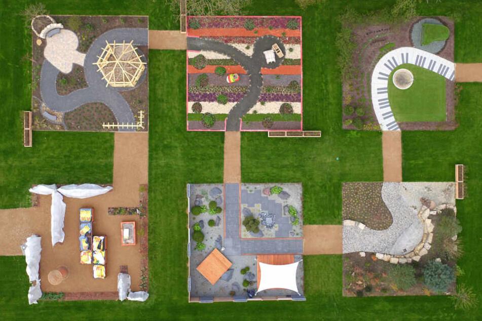 Ein Teil der Schaugärten aus der Luft betrachtet.