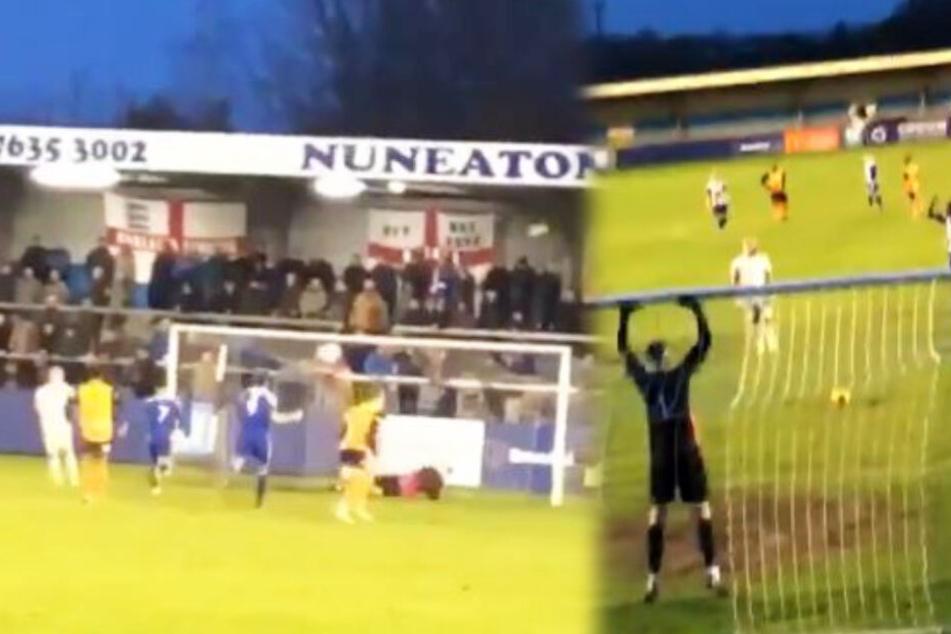 Fußball kurios: Keeper jagt Elfmeter übers Tor und schießt das Flutlicht kaputt!