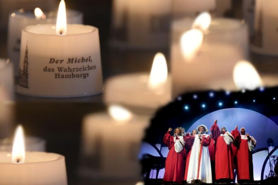 Harlem Gospel Singers aus New York und Kerze im Michel (Symbolbild)