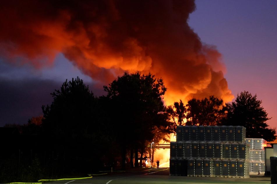 Mit rund 100 Kameraden löschte die Feuerwehr den Brand zweier Hallen in Bernsdorf.