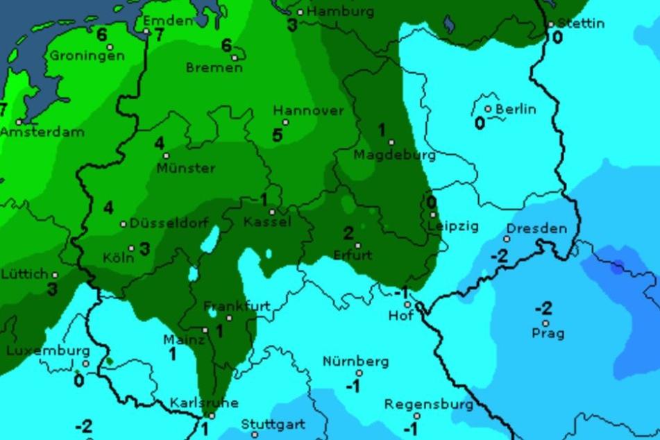 Das Frostbild für Dienstag von wetteronline. Im Osten und Süden Deutschlands könnten die Balkonpflanzen erfrieren.