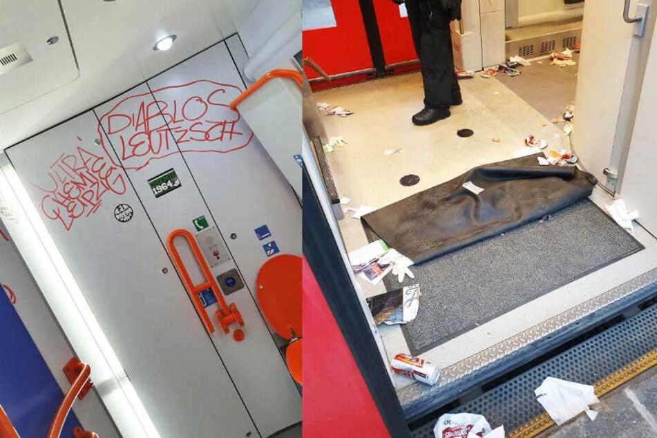 Die Täter vermüllten den Waggon und hinterließen Graffitis.