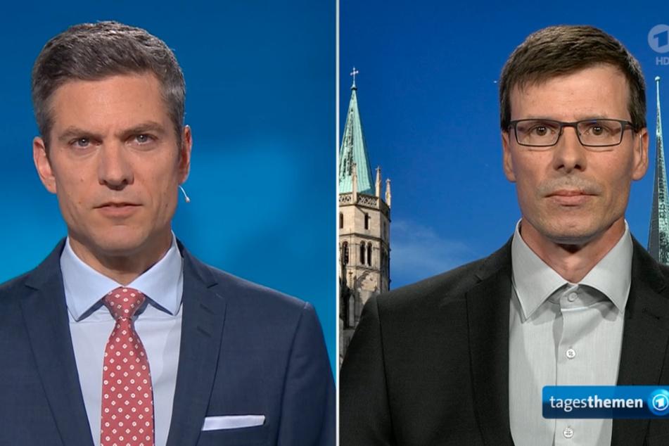 Kinderkardiologe Daniel Vilser (r.) stellte sich am Freitagabend den Fragen von Ingo Zamperoni.