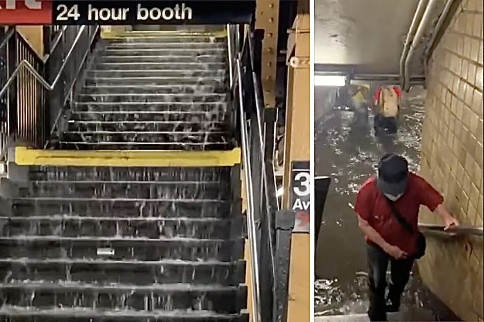 Dangerous flooding drowns NYC subway stations under water