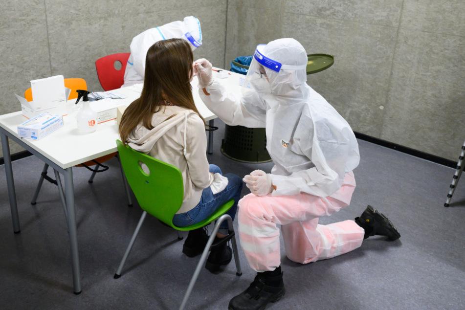 Erster Schultag, erste Stunde: Corona-Test. Wie hier am Campus Gehestraße in Dresden können sich seit Montag Schüler der Abschlussklassen in Sachsen freiwillig einem Schnelltest unterziehen.