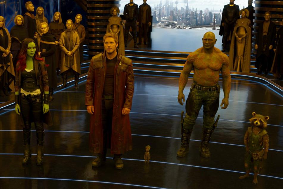 """Ein Teil der Crew aus """"Guardians of the Galaxy"""": Gamora (Zoe Saldana, 42, v. l.), Star-Lord (Chris Pratt, 41), Drax (Dave Bautista, 52) und Rocket."""
