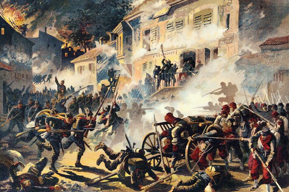 Die Schlacht bei Châteaudun am 18. Oktober 1870. Viele französische Soldaten landeten in Gefangenschaft, einige kamen nach Dresden.