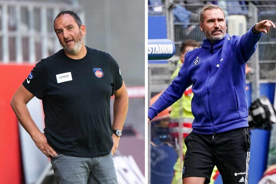 Während Frank Schmidt (49, links) in Heidenheim schon seit 2007 an der Seitenlinie steht, ist Tim Walter (45) beim HSV erst seit wenigen Monaten verantwortlich.