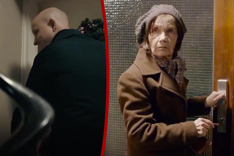 Die durch Schauspieler nachgestellten Szenen: Der falsche Polizist (l.) täuscht einen Wohnungseinbruch vor, die Mieterin (r.) fällt darauf herein.