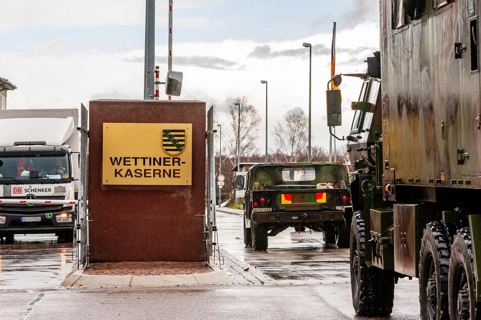 Die Wettiner Kaserne in Frankenberg ist Etappenziel. Im Rastraum können die GIs für eine Stunde ein Coffee-Break einlegen.