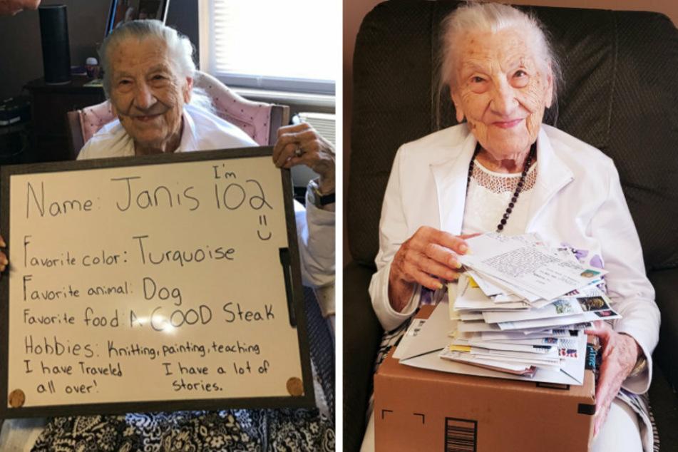 Im Juni suchte Janis, Bewohnerin eines Pflegeheimes, nach Brieffreunden. Im rechten Bild sieht man, wie sehr sich die 102-Jährige über die erhaltene Post freut.