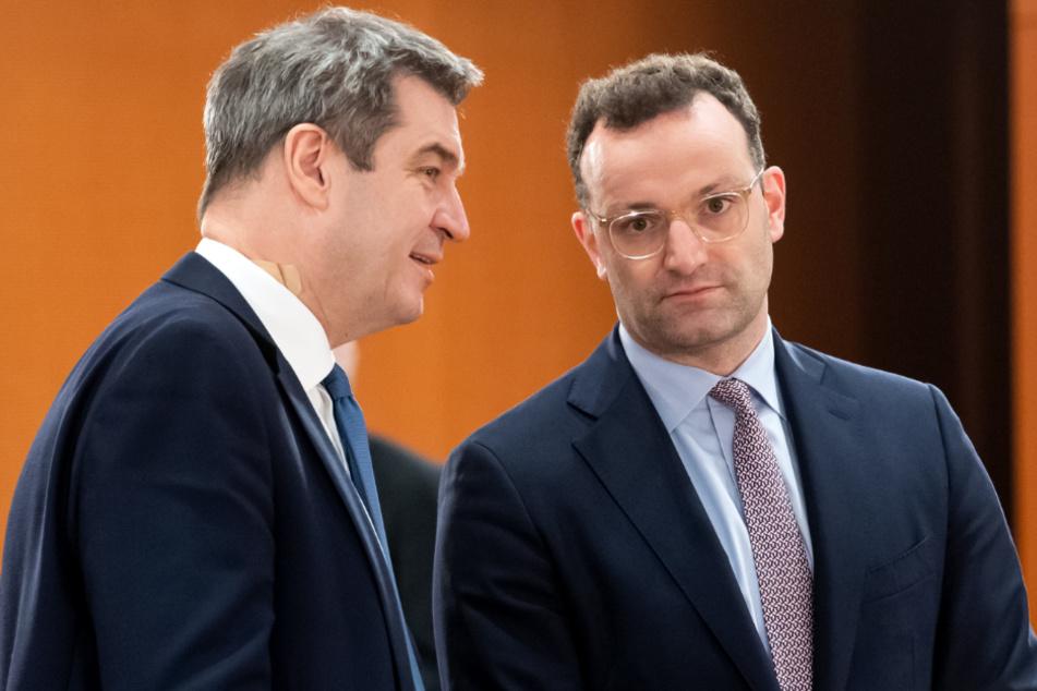 Markus Söder (CSU), Ministerpräsident von Bayern, und Jens Spahn (CDU), Bundesgesundheitsminister.