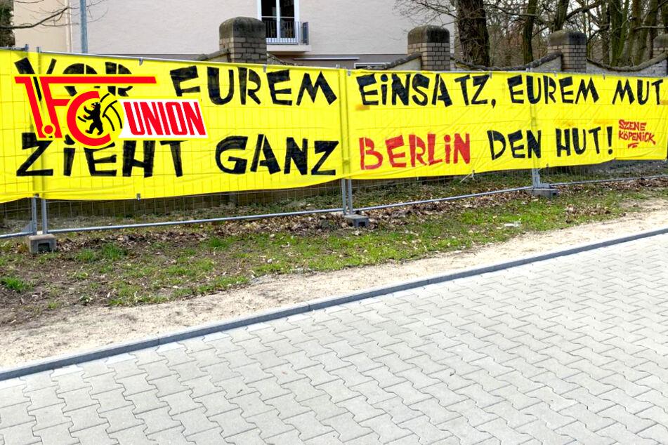 Union-Fans solidarisieren sich mit Corona-Helden: Banner in Köpenick!