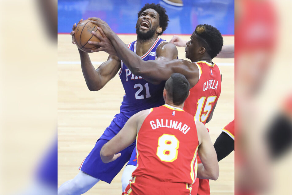 Joel Embiid of the 76s scored a career play-off high with 40 points and 13 rebounds.