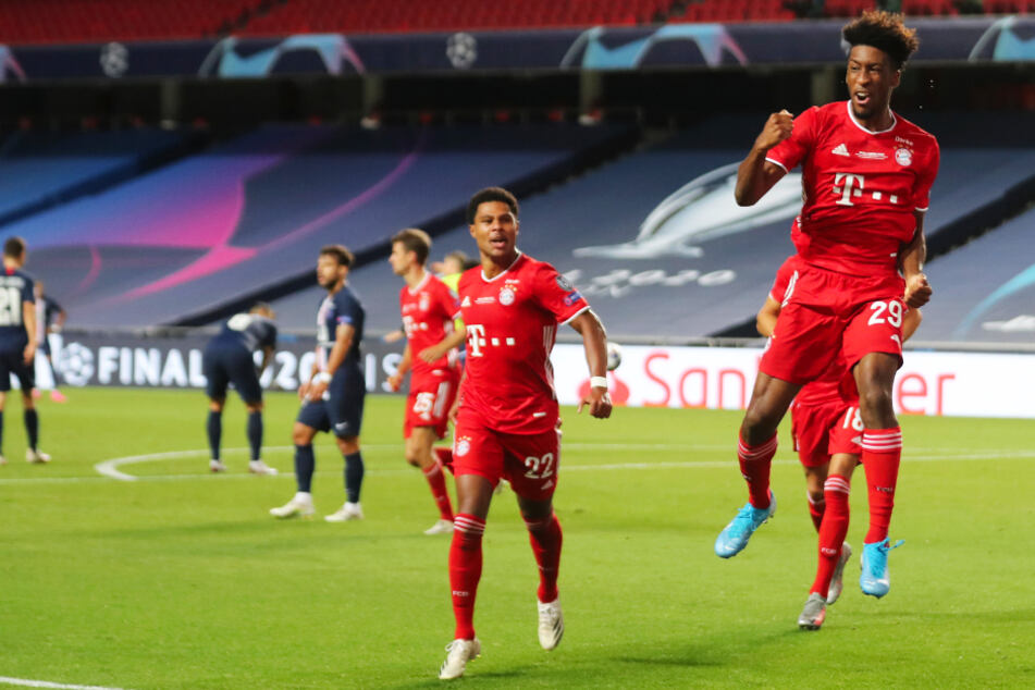 French international Kingsley Coman (right) celebrates his goal for FC Bayern Munich.