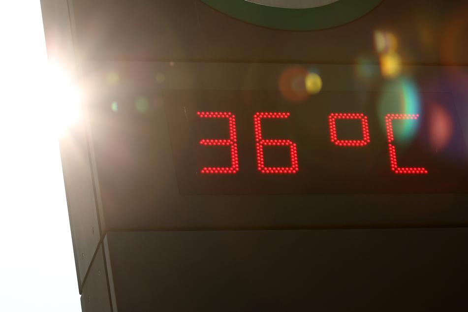 Puh! Am S-Bahn-Eingang Jungfernstieg zeigt eine digitale Temperaturanzeige 36 Grad Celsius an.