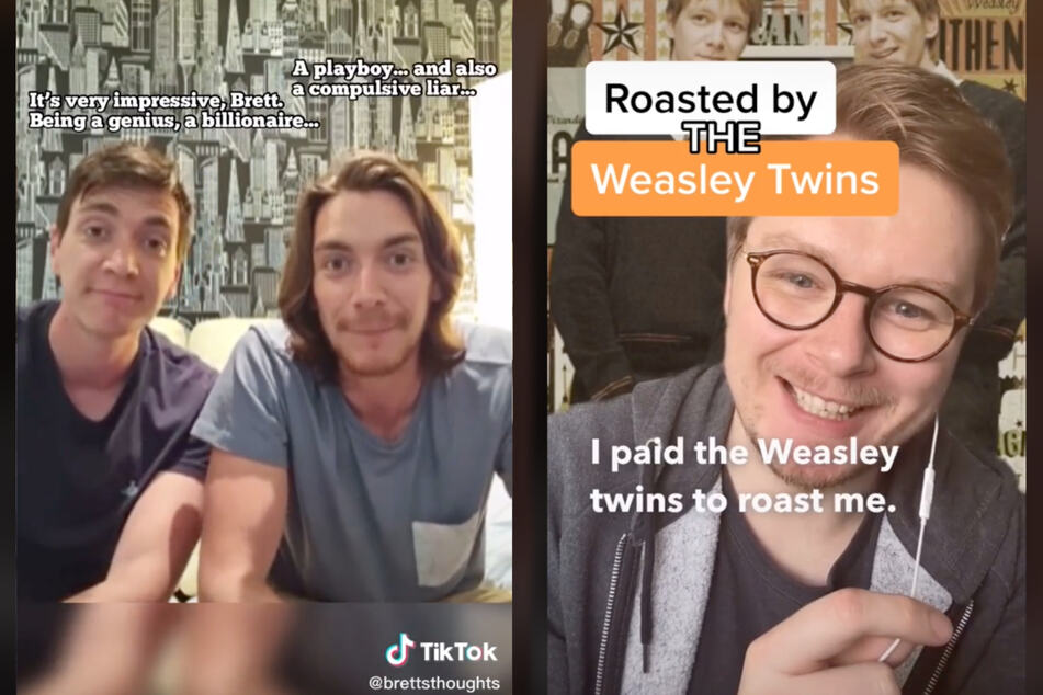 James and Oliver Phelps played the Weasley twins, Fred and George. Their video for Brett (r.) was absolutely savage.