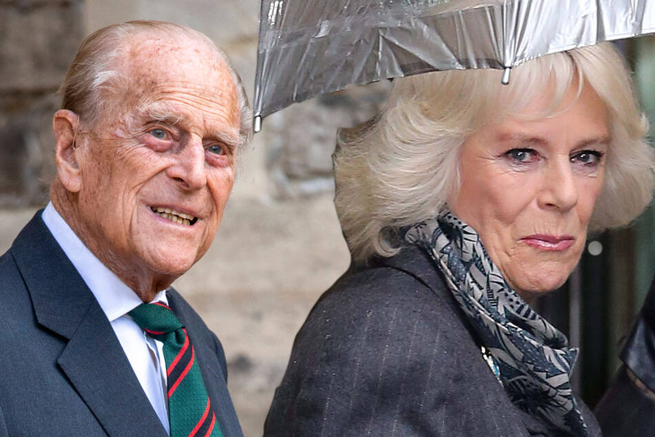 "Duchess Camilla (r.) has revealed that Prince Philip (99) is ""slightly improving."""