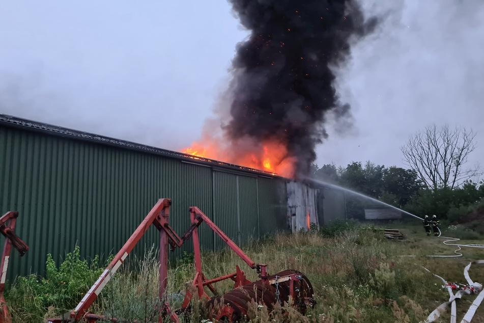 Großbrand in Lagerhalle: Mehr als 100.000 Euro Schaden vermutet
