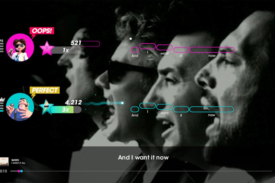 Der Text wird nicht nur am unteren Bildschirmrand sondern auch bei den jeweiligen Tonhöhen-Symbolen eingeblendet.