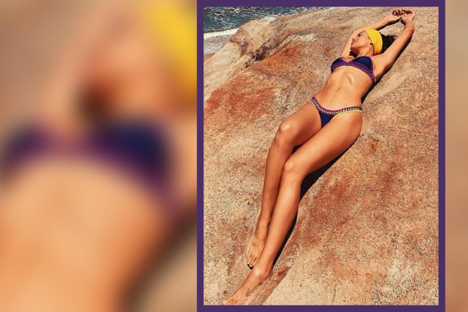 Welche junge Promi-Mama liegt denn hier so entspannt am Strand?