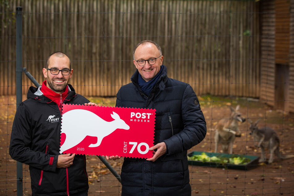 Alexander Hesse (35, l.) und Michael Ulbrich (45) von PostModern mit dem neuen Känguru-Logo.