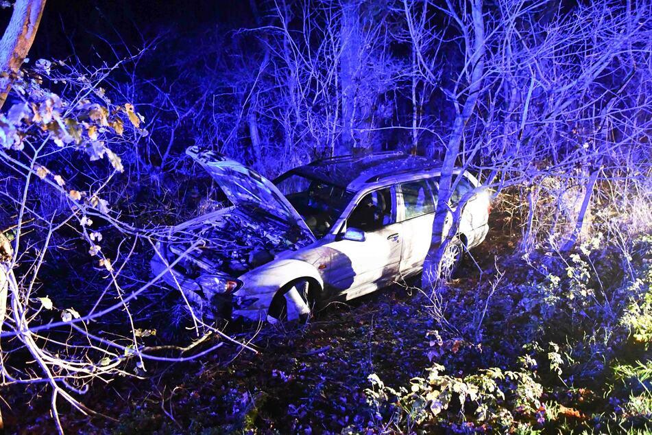 Der Wagen kam von der Fahrbahn ab und krachte in eine Baumgruppe.