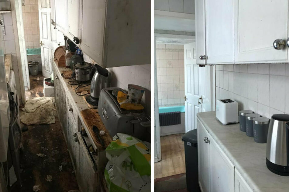 The cleaning company left a sensational result, the kitchen was hardly recognizable after the cleaning.