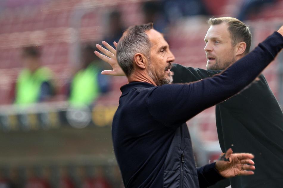 Wer hat am Sonntag das glücklichere Händchen: Eintracht-Coach Adi Hütter (51, l.) oder der Mainzer Trainer Bo Svensson (41)?