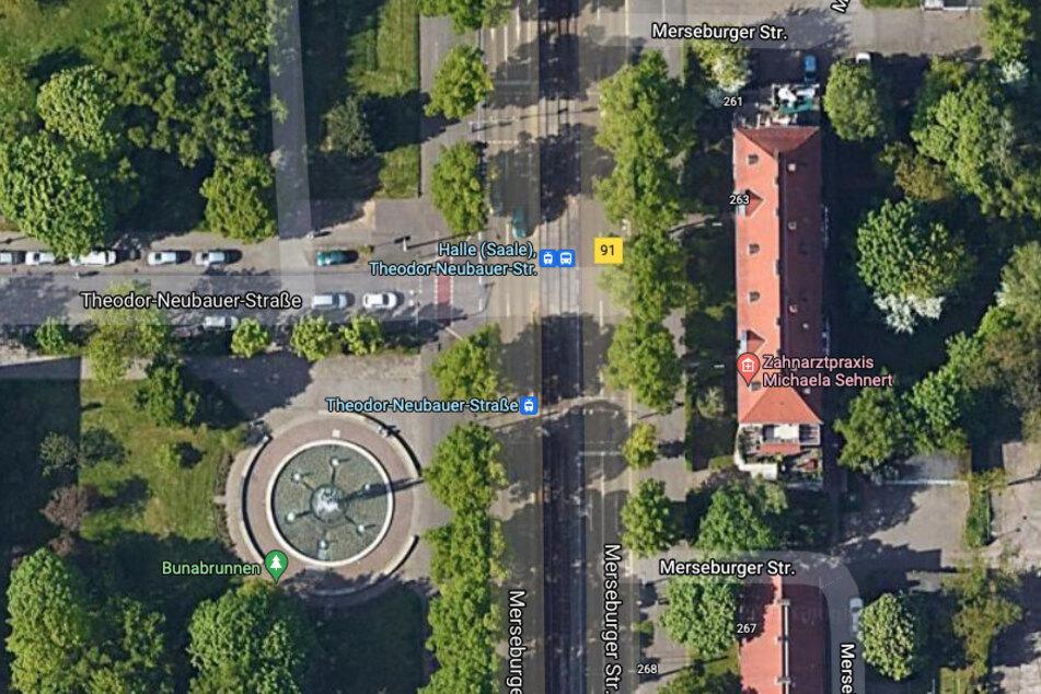 An dieser Kreuzung in Halle (Saale) ereignete sich der schwere Unfall.