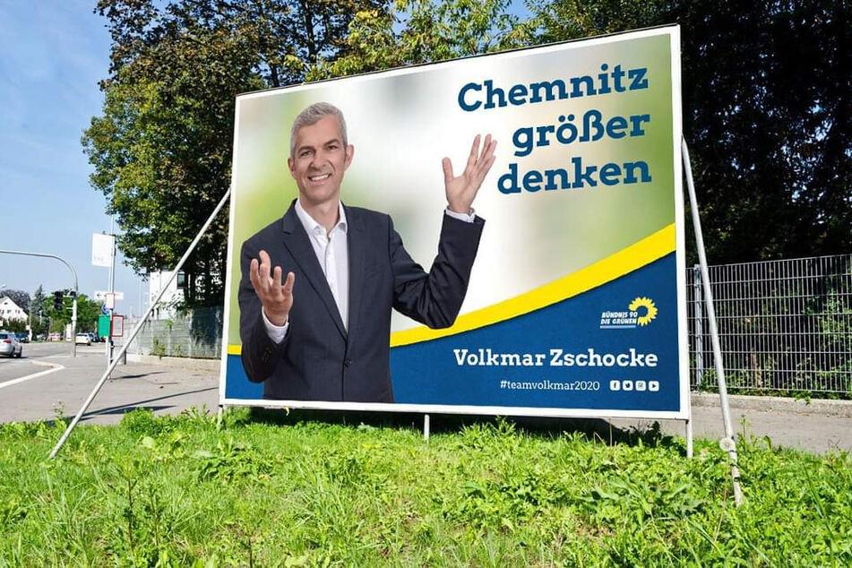 Das Original: So wirbt Volkmar Zschocke (51, Grüne) für sich als künftigen Oberbürgermeister.