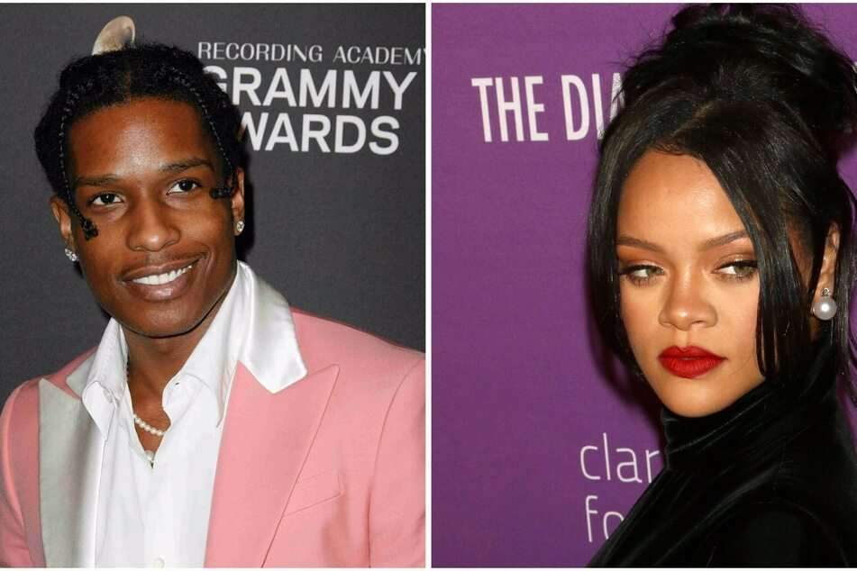 Rihanna & A$AP Rocky kiss and snuggle during date night in NYC