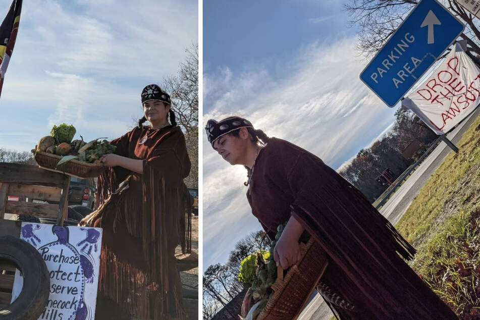 Shinnecock Nation members protest a lawsuit against them for building monuments on their own ancestral lands.