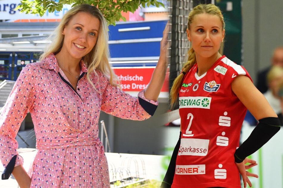 Mareen von Römer (33) vor der Margon Arena (links) und hat ihre Volleyball-Karriere mittlerweile beendet.
