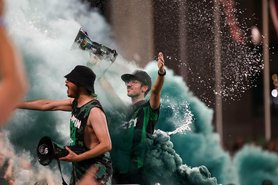 La Murga de Austin Capos' celebrate a goal by Austin FC during a match against the Portland Timbers on July 1, 2021.