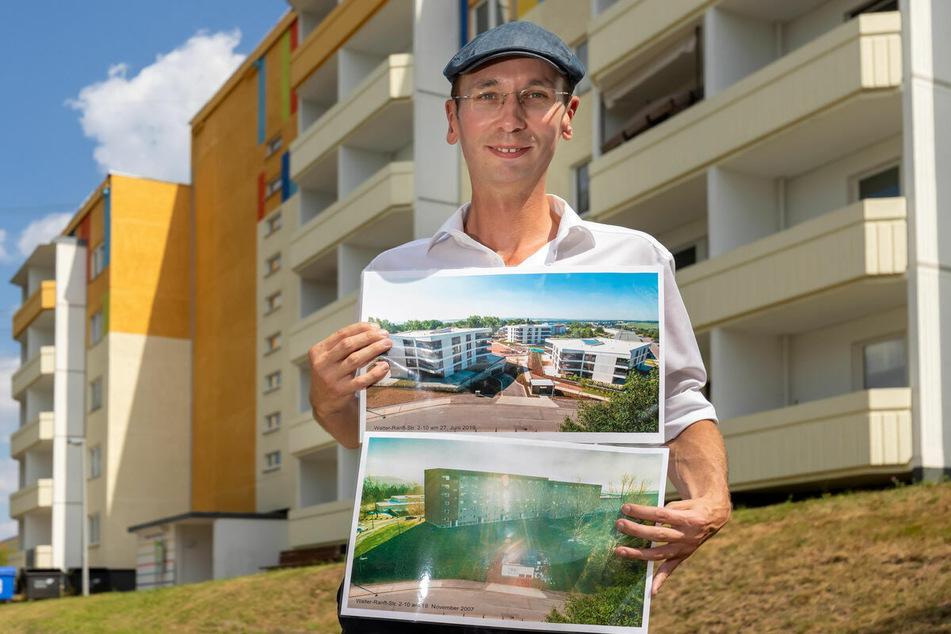 Norbert Engst (36) zeigt die Veränderung in Hutholz auf Bildern aus den Jahren 2007 (unten) und 2019.