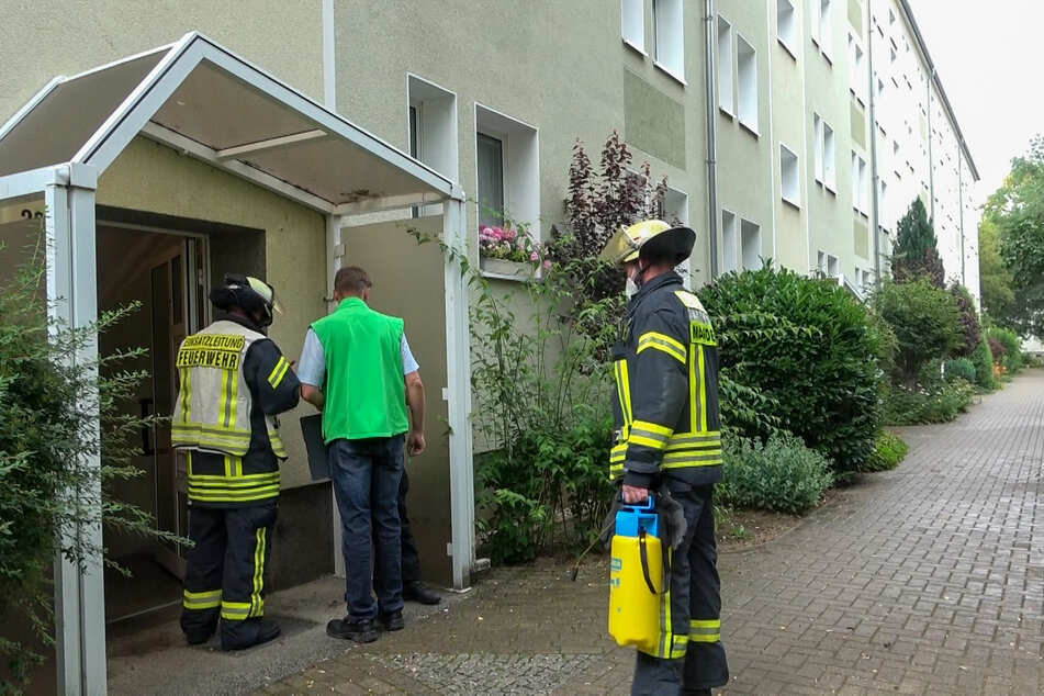 Kameraden der Magdeburger Berufsfeuerwehr gingen gegen den ekelhaften Gestank vor.