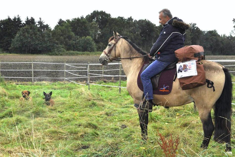 Jürgen Dirrigl (52) auf seinem Pferd Peu (13). Im Hintergrund liegen Malinois-Rüde Turbo (3) und Ridgeback-Rüde Milow (4), die ebenfalls mit nach China reisen werden.
